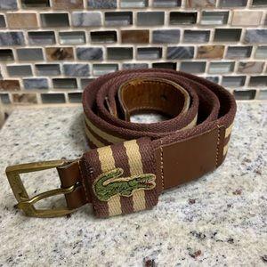 Vintage 1970s Lacoste Belt w/ Solid Brass Hardware